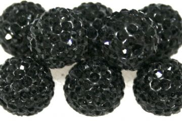 12mm Black 130 Stone Pave Crystal Beads- Half Drilled  PCBHD12-130-005